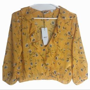 Only Sheena Floral Frill Crop Top Size Small